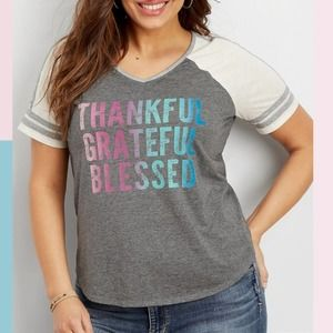 MAURICES Gray Thankful Blessed Football Tee 0X
